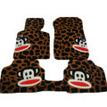 Custom Real Sheepskin Paul Frank Carpet Cars Floor Mats 5pcs Sets For Volkswagen Combi - Brown