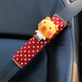 Cute Cartoon Carinono Bear Velvet Automotive Seat Safety Belt Covers Car Decoration 2pcs - Yellow+Red