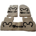 Cute Genuine Sheepskin Mickey Cartoon Custom Carpet Car Floor Mats 5pcs Sets For Peugeot 207 - Beige