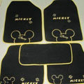 Cute Mickey Mouse Universal Automobile Carpet Car Floor Mat Velvet Bow 5pcs Sets - Black