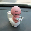 Cute Shake head doll Solar toilet sunny shook head doll Car decoration - Pink