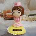 Cute Shake his head doll Solar Uniform Doll Uniform Fan Car decoration - Pink