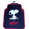 Cute Snoopy Cartoon Pretty Universal Auto Carpet Car Floor Mats Rubber 5pcs Sets - Red