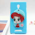 Cute girl Silicone Cases Mirror Covers Skin for OPPO U705T Ulike2 - Blue