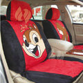 Disney Little squirrel Custom Auto Car Seat Cover Set Suede - Black Red