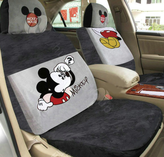 buy wholesale disney mickey mouse head custom auto car seat cover set suede beige brown from. Black Bedroom Furniture Sets. Home Design Ideas