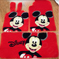 Disney Mickey Tailored Trunk Carpet Cars Floor Mats Velvet 5pcs Sets For KIA Rio - Red