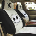 Disney Skull Custom Auto Car Seat Cover Set Suede - Black White