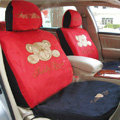 Disney Teddy bear Custom Auto Car Seat Cover Set Suede - Red Black