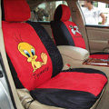 Disney Tweety Bird Custom Auto Car Seat Cover Set Suede - Red Black