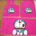 Doraemon Tailored Trunk Carpet Cars Floor Mats Velvet 5pcs Sets For KIA Rio - Pink