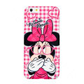 Genuine Cute Glasses Minnie Mouse Covers Plastic Back Cases Cartoon Matte for iPhone 6 Plus 5.5 - Pink