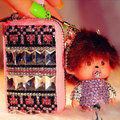 Leopard Crystal Auto Key Bag Pocket Genuine Leather Car Key Case Monchhichi Key Chain - Pink