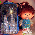 Luxury Crystal Auto Key Bag Genuine Leather Pocket Car Key Case Monchhichi Key Chain - Blue