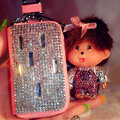 Luxury Crystal Auto Key Bag Genuine Leather Pocket Car Key Case Monchhichi Key Chain - Pink