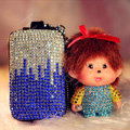 Luxury Crystal Auto Key Bag Pocket Genuine Leather Car Key Case Monchhichi Key Chain - Blue