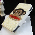 Luxury Paul Frank Bling Crystal Case Holster Leather Cover for Samsung GALAXY S4 I9500 SIV - White