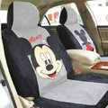 Mickey Mouse Disney Custom Auto Car Seat Cover Set Suede - Black Gray