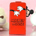 Mickey Mouse Flip leather Case Holster Cover Skin for iPhone 6S Plus - Red