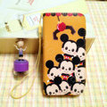 Mickey Mouse leather Case Side Flip Holster Cover Skin for iPhone 6 Plus - Brown