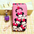 Minnie Mouse leather Case Side Flip Holster Cover Skin for iPhone 6S Plus - Pink