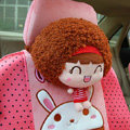Mocmoc Auto Neck Pillows Cars Headrest Plush Cotton Stripe - Red