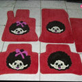 Monchhichi Tailored Trunk Carpet Cars Flooring Mats Velvet 5pcs Sets For BMW 520i - Red