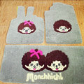Monchhichi Tailored Trunk Carpet Cars Flooring Mats Velvet 5pcs Sets For Peugeot 407 - Beige