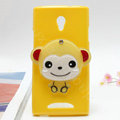 Monkey Silicone Cases Mirror Covers Skin for OPPO U705T Ulike2 - Yellow