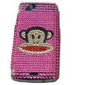 Monkey mouth bling crystals cases covers for Sony Ericsson Xperia Arc LT15I X12 LT18i - Rose