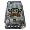 Monkey mouth bling crystals cases covers for Sony Ericsson Xperia Arc LT15I X12 LT18i - White