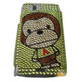 Monkey mouth bling crystals cases covers for Sony Ericsson Xperia Arc LT15I X12 LT18i - Yellow