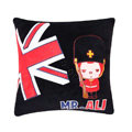 Peach & Ali Auto Car Cushions Plush Cotton British Flag - Black