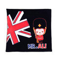 Peach & Ali Auto Car Seat Cushion Plush Cotton British Flag - Black
