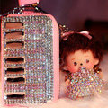 Piano Crystal Auto Key Bag Genuine Leather Pocket Car Key Case Monchhichi Key Chain - Pink