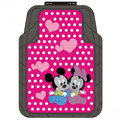 Polka Dot Mickey Minnie Mouse Cartoon Disney Universal Carpet Car Floor Mats Rubber 5pcs Sets - Rose