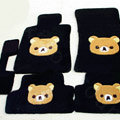 Rilakkuma Tailored Trunk Carpet Cars Floor Mats Velvet 5pcs Sets For Peugeot 207 - Black