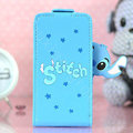 Stitch Flip leather Case Holster Cover Skin for iPhone 6S Plus - Blue