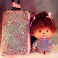 Swan Crystal Auto Key Bag Genuine Leather Pocket Car Key Case Monchhichi Key Chain - Pink