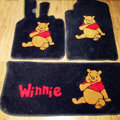 Winnie the Pooh Tailored Trunk Carpet Cars Floor Mats Velvet 5pcs Sets For BMW 520i - Black