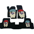 Winter Genuine Sheepskin Pig Cartoon Custom Cute Car Floor Mats 5pcs Sets For KIA Rio - Black