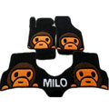 Winter Real Sheepskin Baby Milo Cartoon Custom Cute Car Floor Mats 5pcs Sets For KIA Rio - Black