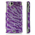 Zebra bling crystals cases covers for Sony Ericsson Xperia Arc LT15I X12 LT18i - Purple