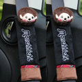 Beautiful Monchhichi Velvet Automotive Seat Safety Belt Covers Car Decoration 2pcs - Black+Brown