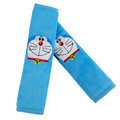 Classic Cartoon Doraemon Velvet Automotive Seat Safety Belt Covers Car Decoration 2pcs - Blue