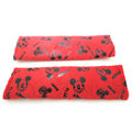 Classic Mickey Mouse Velvet Car Seat Strap Covers Car Decoration 2pcs - Red Black