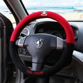 Classic Paul Frank Auto Synthetic Fiber Steering Wheel Covers 15 inch 38CM - Black+Red