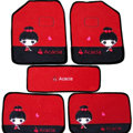 Cool Acacia Universal Auto Carpet Custom Floor Mats Velvet 5pcs Sets - Red