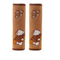 Embroidery Rilakkuma Synthetic Fiber Automotive Seat Safety Belt Covers Car Decoration 2pcs - Beige