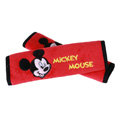 Exquisite Mickey Mouse Velvet Car Seat Strap Covers Car Decoration 2pcs - Red+Black